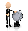 3d person with globe | Stock Illustration