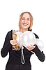 Girl celebrates Christmas with glass of champagne | Stock Foto