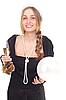 Фото 300 DPI: Девушка празднует Новый год с бокалом шампанского