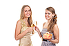 Two girls celebrate Christmas | Stock Foto
