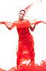 美丽的红色衣服的女孩 | 免版税照片