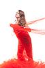 美丽的姑娘在红布 | 免版税照片