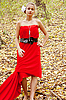 Photo 300 DPI: Pretty girl in red dress in the forest