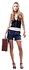Photo 300 DPI: beautiful girl in shorts with suitcase