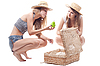 ID 3107653 | Two girls in hats with straw suitcase | High resolution stock photo | CLIPARTO