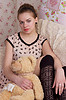Girl with teddy bear in bed | Stock Foto