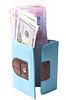 ID 3266398 | Blue purse with money - dollars and Ukrainian hryvnias | High resolution stock photo | CLIPARTO