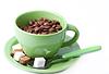 ID 3332506   커피 콩의 조각 숟가락과 녹색 컵   높은 해상도 사진   CLIPARTO