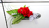 Red flower on handle of wedding car | Stock Foto