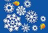 Новогодние узоры в виде снежинок и яблок   Иллюстрация