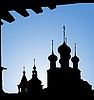 Photo 300 DPI: Silhouettes of church domes in Rostov