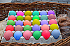 Box with easter eggs of different colors | Stock Foto