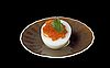 Egg and red caviar on plate | Stock Foto