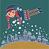 Christmas elf making snow | Stock Illustration