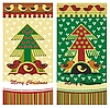 Christmas cards with fir tree and birds