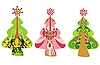 Vector clipart: Decorative christmas trees in contemporary style