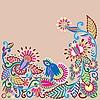 Векторный клипарт: Цветочный дизайн с птицей