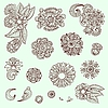 Set of flower ornamental elements