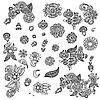 Vector clipart: Set of flower ornamental elements