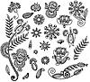 Векторный клипарт: Набор цветочных элементов орнаментов