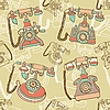 Vector clipart: seamless pattern with retro telephones