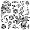 Zestaw kwiatowych wzorów zdobniczych | Stock Vector Graphics