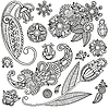 Vector clipart: Set of flower ornamental designs