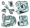 Vektor Cliparts: Sewing Tailor Set