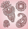 Vector clipart: Henna Mehndi Tattoo Flowers and Paisley Doodle