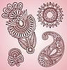 Vektor Cliparts: Henna Mehndi Tattoo Blumen und Paisley-Doodle Vector