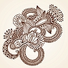 Vector clipart: Abstract Henna Mehndi Flowers Doodle
