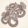 Vektor Cliparts: abstrakter Henna Mehndi Blumen Doodle Vector