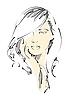 Vektor Cliparts: Skizze schöne Frau