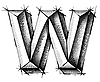 Vector clipart: sketch of initial letter W