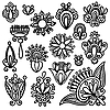 Vector clipart: Set of black flower designs