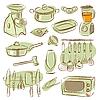 Векторный клипарт: мило кухне элементы коллекции