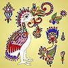 Векторный клипарт: Птицы и цветы элементы дизайна