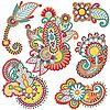 Векторный клипарт: цветные декоративные цветочные элемент дизайна отделки. Украинцев