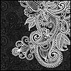 Vector clipart: black and white floral pattern