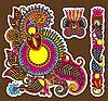 Векторный клипарт: цветные декоративные цветочные элемент дизайна отделки.