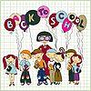 Vektor Cliparts: Gruppe von Schülern und ihrem Lehrer
