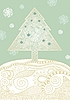 Christmas card with stylized fir tree