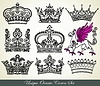 Vector clipart: heraldic crown set