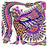 Vector clipart: marker painting bird ethnic design