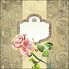 Photo 300 DPI: ornate floral pattern with pink watercolor rose