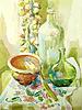 Vector clipart: handmade watercolor kitchen still life