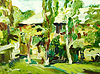 original oil painting spring village landscape