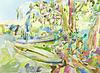 Оригинальная картина акварель летний пейзаж