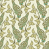 Vector clipart: ornamental seamless pattern with bird and leaf