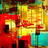 Векторный клипарт: абстрактной стороны ничья акриловой живописи композиция